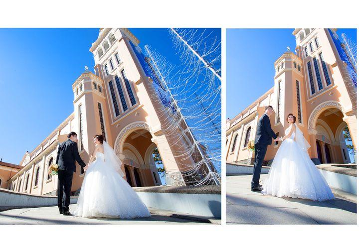 Quảng trường Lâm Viên đem đến khung hình cưới hiện đại.