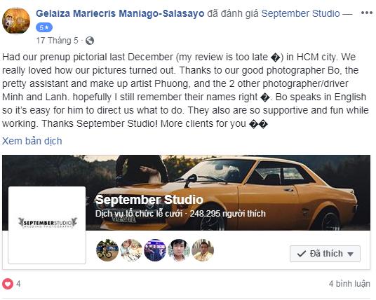 Những nhận xét của khách hàng về September Studio