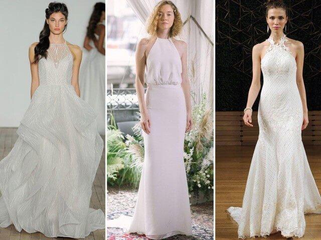 Váy cưới cổ yếm đẹp giúp khoe khéo thân hình của cô dâu.
