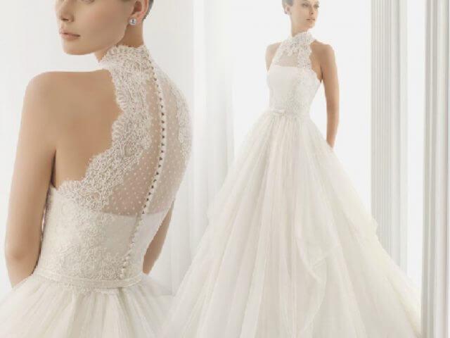 Váy cưới cổ yếm đẹp từ chất liệu voan thường bồng bềnh, đẹp mơ màng.