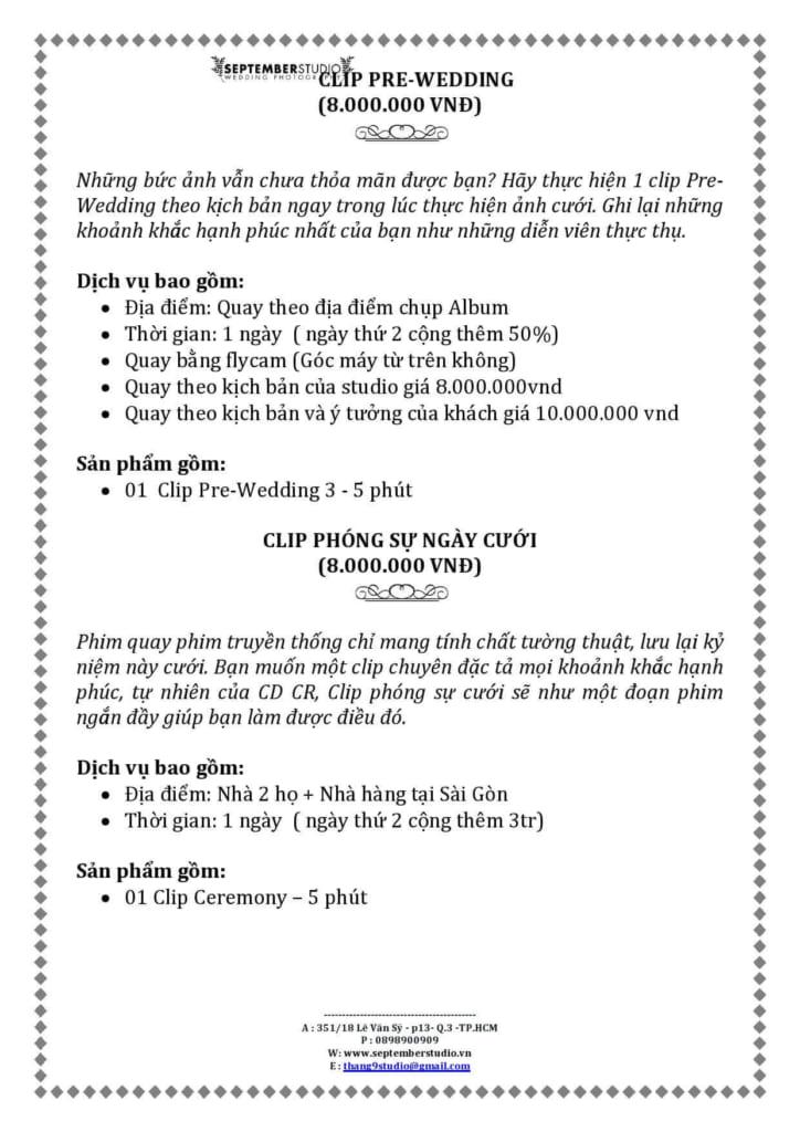 Giá làm clip pre-wedding
