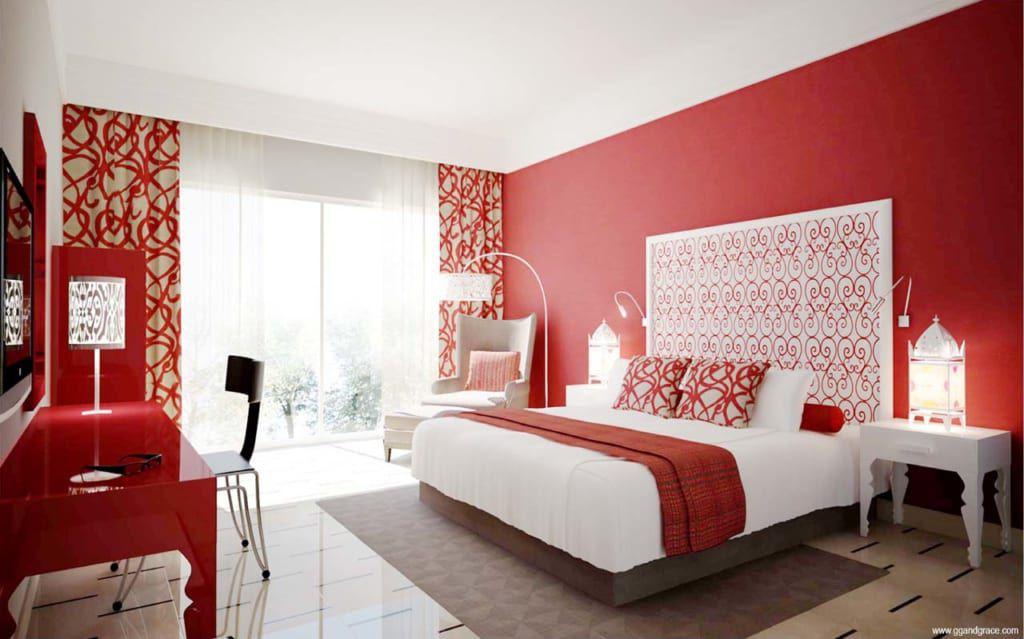 Trang trí giường cưới ga màu đỏ đẹp