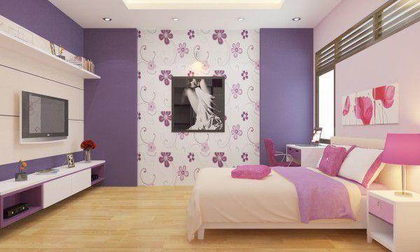 Trang trí phòng cưới màu tím mộng mơ