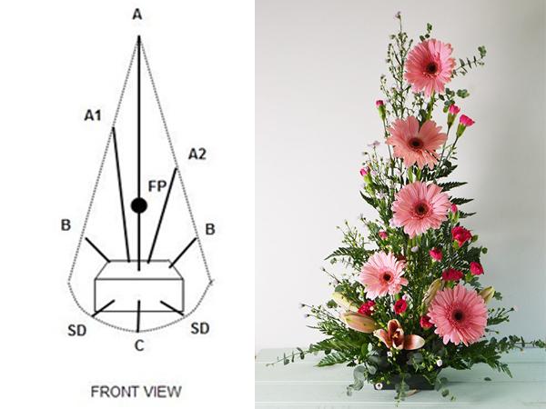 Gợi ý kiểu cắm hoa hồng hình tam giác